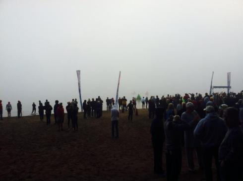 Fog covered the entire swim course.
