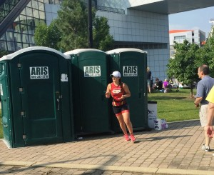 This picture cracks me up. Had to stop for a quick bathroom break before heading out on the run!